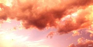 Wolken in rot